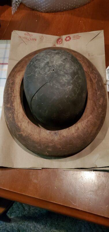 Vintage millinery wood hat block head and brim forms