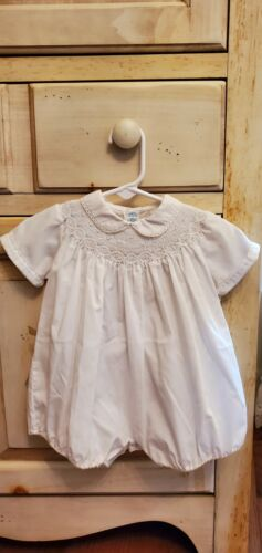 Feltman Brothers Vintage Romper w/ Peter Pan Collar & White and Blue Smocking