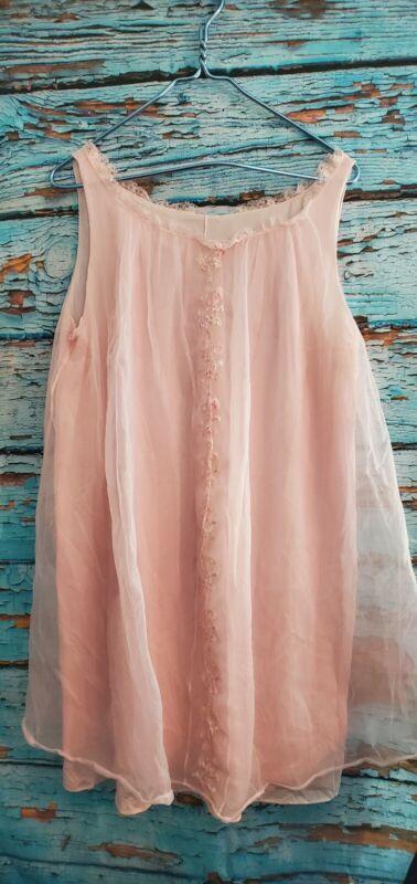 Vtg Pennys Gaymode Womens Lingerie Size Large Nightie Chemise pink Sheer 35B