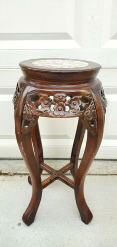 Antique Marble Top Rosewood Plant Stand Table