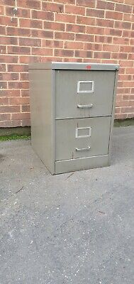 VINTAGE INDUSTRIAL STEEL TWO DRAW FILING CABINET. HOWDEN