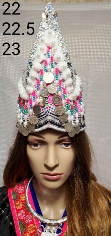 Brand New design Beautiful Handmade Hmong  PRINCESS hats with pom Poms