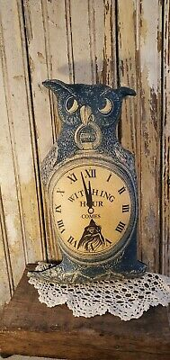 LARGE PRIMITIVE VINTAGE HALLOWEEN POCKET WATCH OWL WITCH HOUR CLOCK PILLOW DOLL
