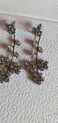 Jennifer Behr Black Gunmetal Flower Stud Drop Earrings