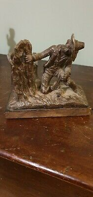 Antique vintage Spelter Spill pot Hunting Man