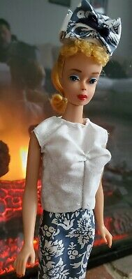 1960 Blonde #4 Number 4 Ponytail Barbie doll VINTAGE solid torso Early