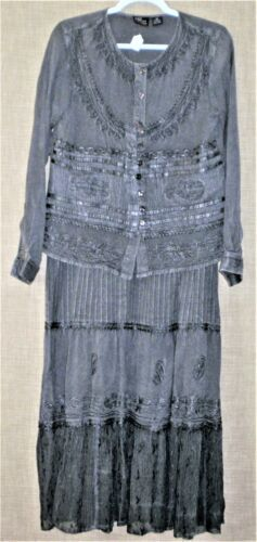 Vintage 70s Hippie Boho Layered Top & Tiered Long Skirt SET Embroidered INDIA
