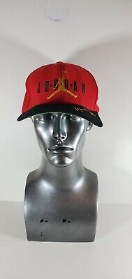 Vtg 90s Nike Air Michael Jordan Jumpman Signature Red Black Snapback Hat Wool