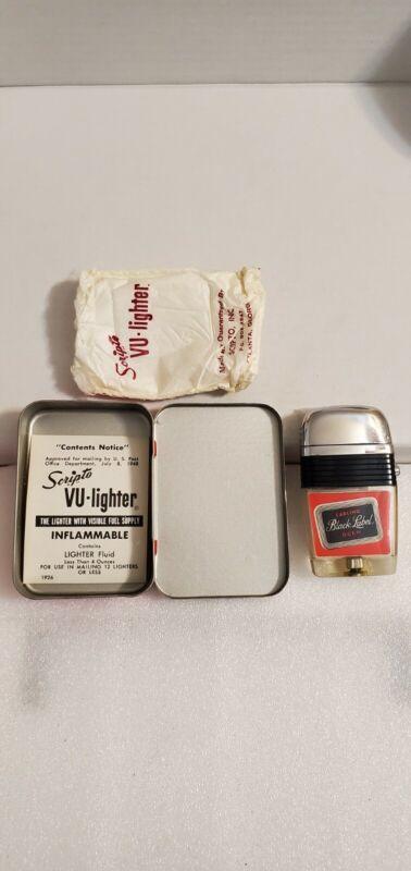 Vintage Scripto Vu Lighter: Carling Black Label / Stag Beer Logo with Case