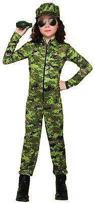 Army Girl GI Green Camo Costume Uniform Child General Military Halloween - Camo Girl Costume