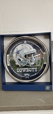 "Dallas Cowboys 12"" Clock Round Wall Style Chrome"
