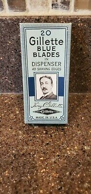 NOS New Sealed Vintage Gillette Pack of 20 Blue Blades Razor TTO DE Adjustable