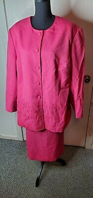 Glamour Suits Womens Pink Embellished 2pc Skirt Suit Sz 26W Pre-owned  Embellished Womens Suits