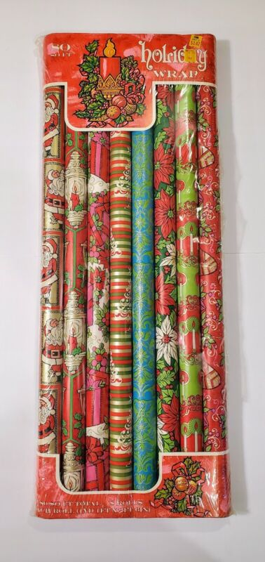 Vtg 60s/70s RJR Archer Holiday Christmas Wrapping Paper 8 Rolls Groovy Retro NEW