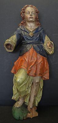 Heiligenfigur, Holz farbig gefasst, 18.Jhd., Hände fehlen     (248/10080)