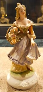 Lefton China Statue Figurine Woman With Flower Basket (KW5452)