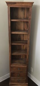 Natural Teak wood bookcase / display cabinet