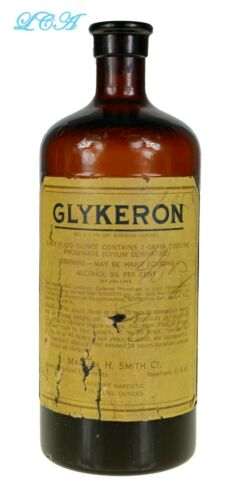 Antique GLYKEROIN - HEROIN embossed QUACK MEDICINE bottle.  Large, early RARE