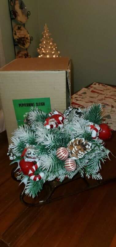 Vintage Christmas Peppermint Sleigh Decoration Centerpiece 54-175 White tipped
