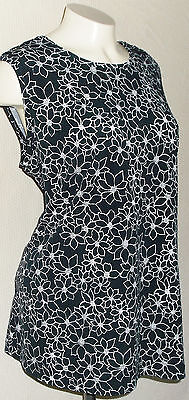 Liz Lange Maternity Blouse Size XL Black White Floral Sleeveless Shirt Top