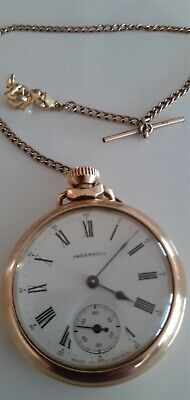 """"""" INGERSOL"""" BEAUTIFUL GILT CASED ANTIQUE POCKET WATCH. WITH ROLLED GOLD CHAIN."""