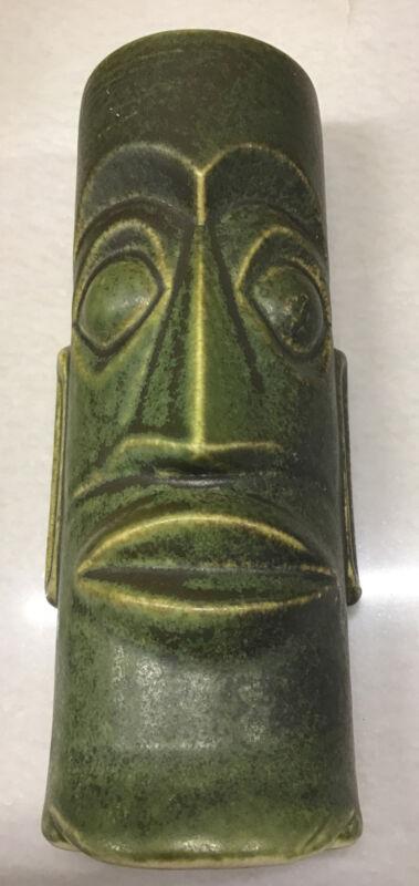 Mark Thomas Outrigger Pottery Cannery Row Green Tiki Mug Cup Otagiri *Defect