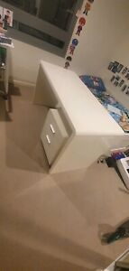 High gloss white desk and filing cabinet