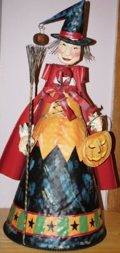 """HUGE Standing Halloween Witch with Broom and Hat metal and resin 27"""" tall"""