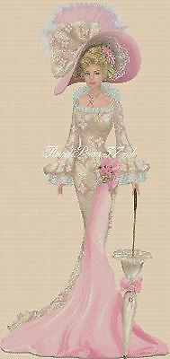 Cross stitch chart  Elegant Lady 156S full length     Flowerpower37-uk