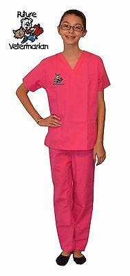 Kids Veterinarian Scrubs Hot Pink with Future Vet Embroidery Design