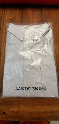 BRAND NEW Lands' End Men's Long Sleeve Straight Collar Oxford Shirt;Charcoal; -