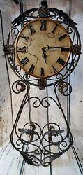 Large Iron Wall Clock Tuscan Villa Tasting Room Vineyard Style w/Roman Numerals