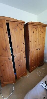 Two Antique Pine Wardrobes