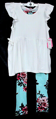1ST KISS Girls 2 Pc Outfit Sz 13/16 White Ruffled Top Dress  Aqua Floral Legging White Ruffled Top Outfit