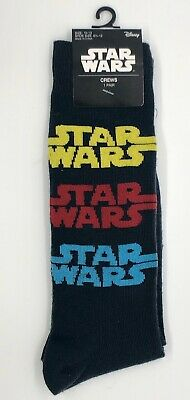 New Disney Star Wars Mens Pair Of Novelty Crew Socks STAR WARS LOGO Size 10-13