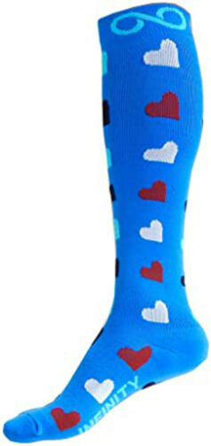 BLUE+RED+HEARTS+INFINITY+COMPRESSION+SOCKS+-+large%2C+UK+shoe+size+6-12%2C+NEW
