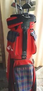 Golf Bag &Clubs PGF Bag with 9 Slazenger Irons & 1 Wilson Wood