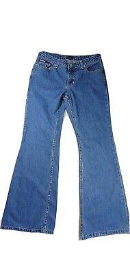 Vintage Tommy Hilfiger Bell Bottoms Blue Jeans Size 9 / 33 Light Wash Flag Patch