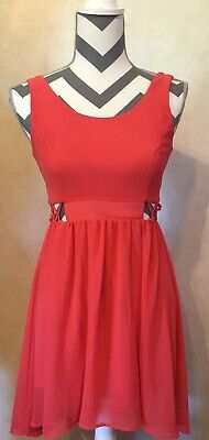Small GB Women's Pink Knee Length Dress Cross Waist Zip Up V Back Tank Top
