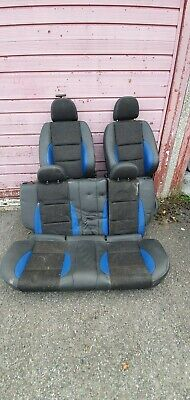 MG ZR /Rover 25 BLACK & BLUE HALF LEATHER SEATS FULL SET