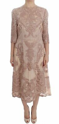 NEW $15600 DOLCE & GABBANA Dress Pink Silk Lace Ricamo Shift Gown IT38 / US4 /XS