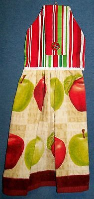 Red & Green Country Apple Harvest Hanging Kitchen Fridge Hand Towel 783
