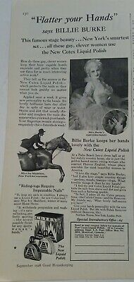 1928 Cutex fingernail nail polish Billie Burke flatter your hands vintage ad