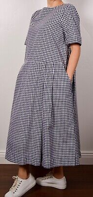 Casey Casey France Egg Trading cotton checked dress fully lined M white navy
