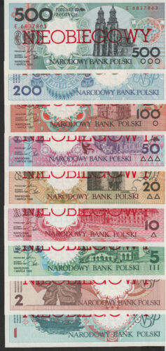 Poland 1-500 Zlotych 1990 SET UNC SPECIMEN