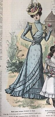 French MODE ILLUSTREE SEWING PATTERN July 17,1898 CORSET , ROBE AVEC CORSAGE