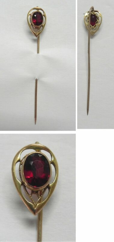 """C1794 Antique Victorian 10K Solid YG Red Crystal Stickpin Stick Pin, 2.5"""""""