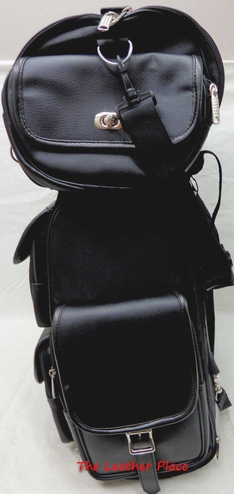 Motorcycle Large Studded Sissy Bar Travel Bar Bag Back