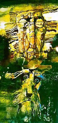 "Pet Guardian, guide-dog/ Original Oil Painting by Hahonin / 25x12cm / 9.8""x4.7"""