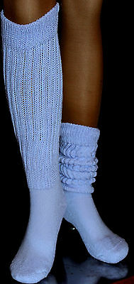 12 Lt Blue Slouch to Knee Socks Heavy Scrunchie Lg Women Hooters uniform school
